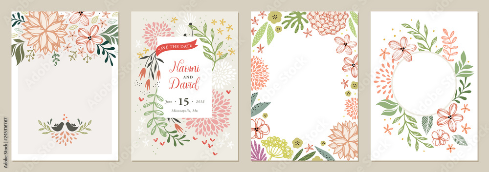 Photo  Set of floral universal artistic templates