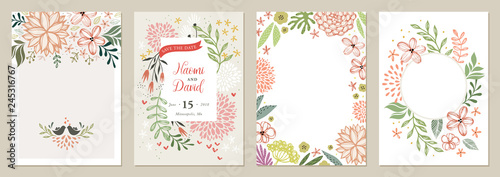 Set of floral universal artistic templates. Good for greeting cards, invitations, flyers and other graphic design.