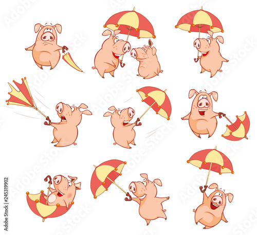 A cute Pig and Windy Autumn Day. Cartoon Vector