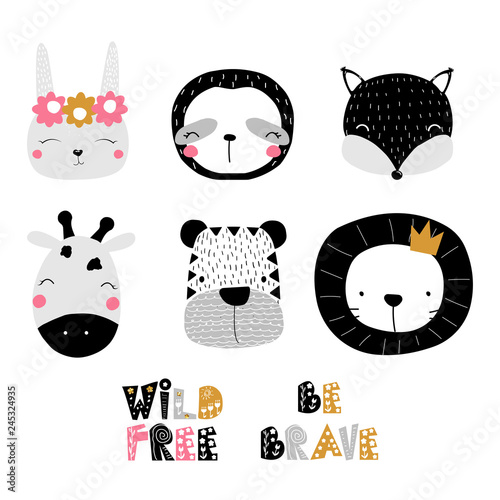 Set of cute animals faces and quotes Wallpaper Mural