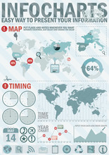 Infochart Creative Pack. Easy Assembling Elements For Presentation And Graph. Including World Map, Time Zones Map And Set Of Business Related Icons