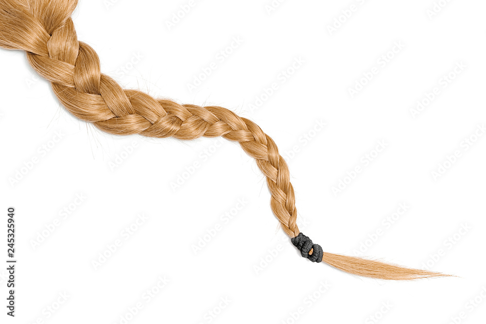 Fototapety, obrazy: Women braid on a white background. Blond hair, isolated