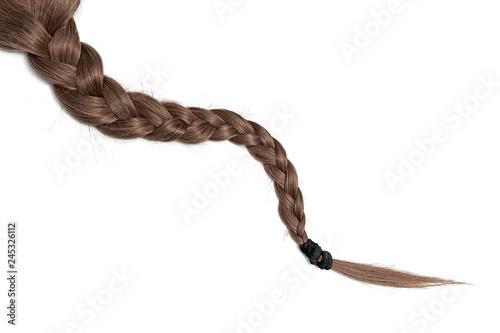 Obraz Women braid on a white background. Brown hair, isolated - fototapety do salonu