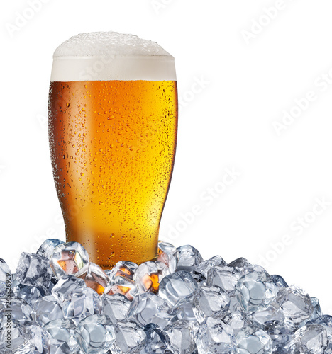 Spoed Foto op Canvas Bier / Cider Chilled glass of light beer in ice cubes. File contains clipping path.