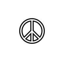 Black Outlined Circular Hippie Peace Sign Icon.