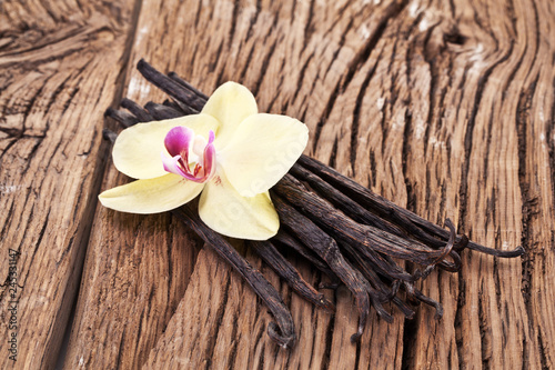 Tuinposter Kruiderij Dried vanilla pods and orchid vanilla flower on wooden table.