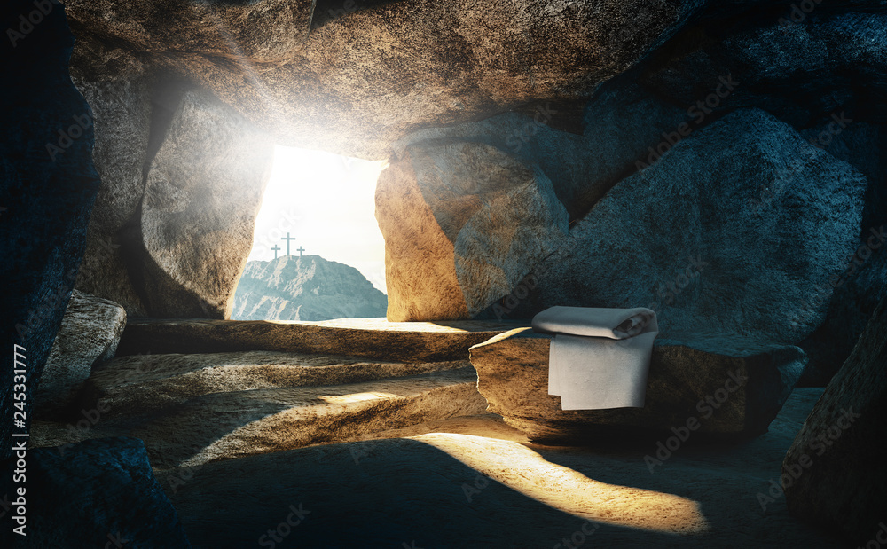 Fotografia Tomb empty with shroud and crucifixion, 3d rendering