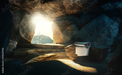 Fototapeta Tomb empty with shroud and crucifixion, 3d rendering