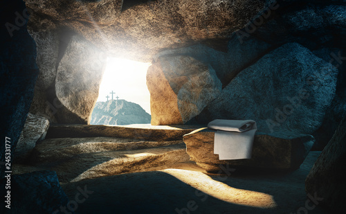 Valokuva  Tomb empty with shroud and crucifixion, 3d rendering