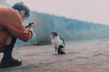 Woman Taking Shot Of Homeless Cat