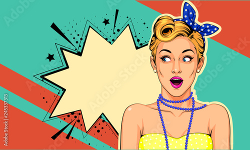 Fototapety Pop Art   beautiful-surprised-pin-up-girl-vector-illustration-in-pop-art-style