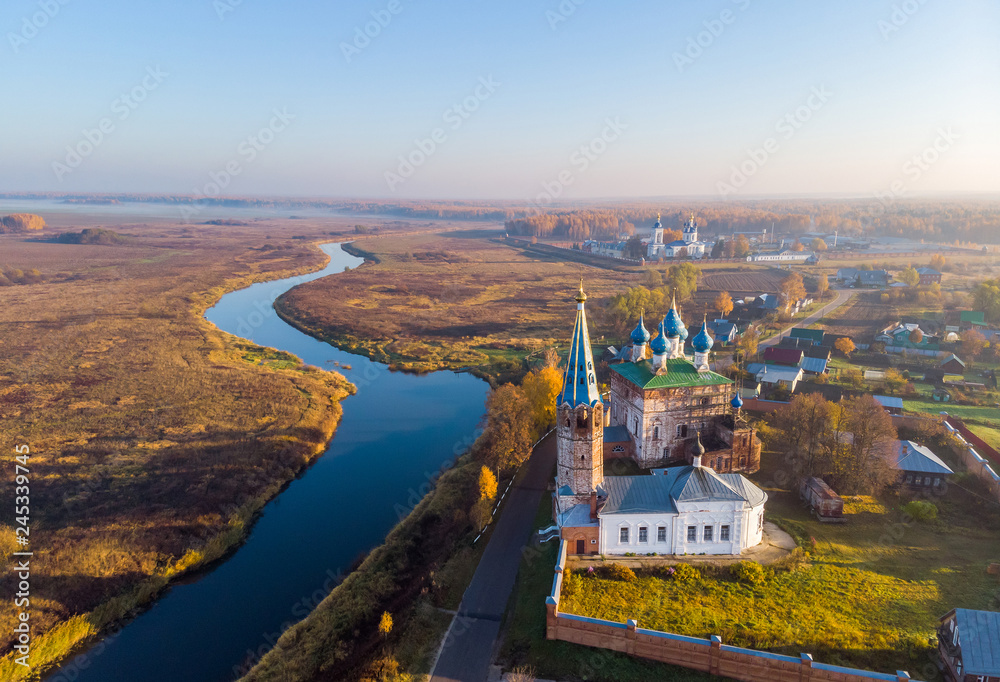 Fototapety, obrazy: Autumn morning in the village of Dunilovo. Shooting from a quadcopter