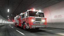Fire Truck Rides Through Tunnel 3d Rendering
