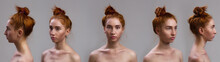 Set Of Portraits Collage. Close-up Portrait Of A Sexy Beautiful Slim Red Hair Woman Standing On Grey Background. Different Angle View Of A Girl Face.