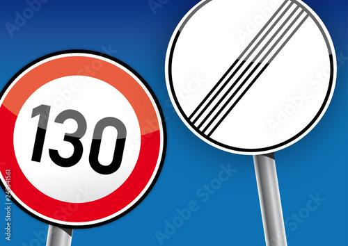 Fotomural Tempolimit, Tempo 130 km/h Verkehrsschilder