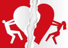 Divorced Couple, White And Red Ripped Paper With Heart Symbol.  Torn  Paper With Man And Woman Silhouettes And Broken Heart Icon Symbolizing The End Of Love. Vector Available.