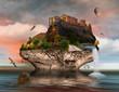 canvas print picture - Fantasie Insel mit Festung auf dem Meer und Wasserfall