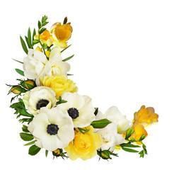 Naklejka Egzotyczne White anemones, yellow roses, eucalyptus leaves and freesia flowers in a corner arrangement