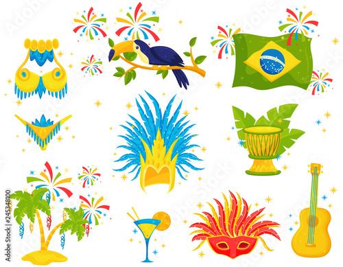 Vászonkép Flat vector set of Brazilian icons