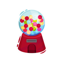 Glass Gumball Machine With Slot For Penny. Vintage Machine With Bubble Gums Or Candies. Cartoon Vector Design