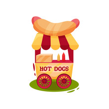 Small Carnival Cart With Hot Dogs. Vending Trolley. Fast Food. Circus And Amusement Park Theme. Flat Vector Design