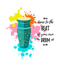 Bright Card With Drum And Danc...