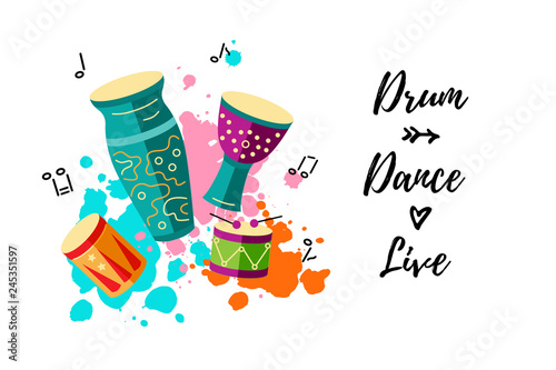 Foto Vector illustration with drums and paint splashes