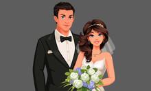 Vector Illustration Of Beautiful Wedding Couple 2