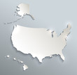 USA with Alaska and Hawaii map blank blue white card paper 3D raster