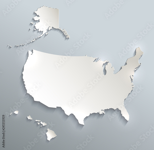 USA with Alaska and Hawaii map blank blue white card paper 3D raster Canvas Print