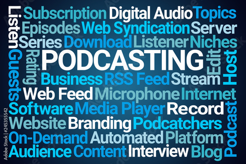 Podcasting Word Cloud Tablou Canvas