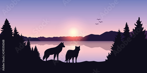 Foto auf Gartenposter Schwarz two wolves look to the lake and mountain landscape at sunrise vector illustration EPS10