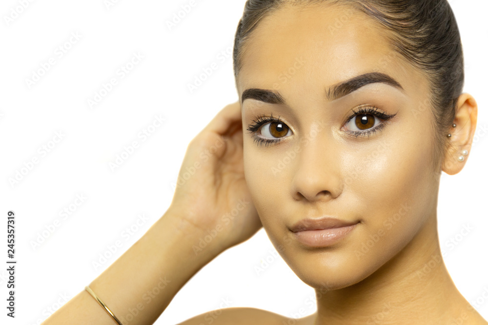 Fototapety, obrazy: Mixed race young woman face portrait isolated on white background.