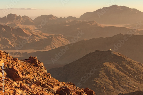 Picturesque landscape of mountains peaks during sunrise Canvas Print