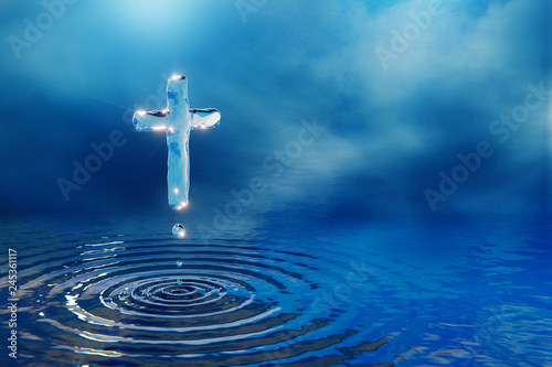 Valokuva  Christian holy water cross in blue clouds, miracle concept, 3D illustration