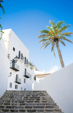 Low Angle View Of Palm Tree And White Building Against Blue Sky At The Old Town Of Ibiza, Spain. Travel, Mediterranean And Vacation Concept.