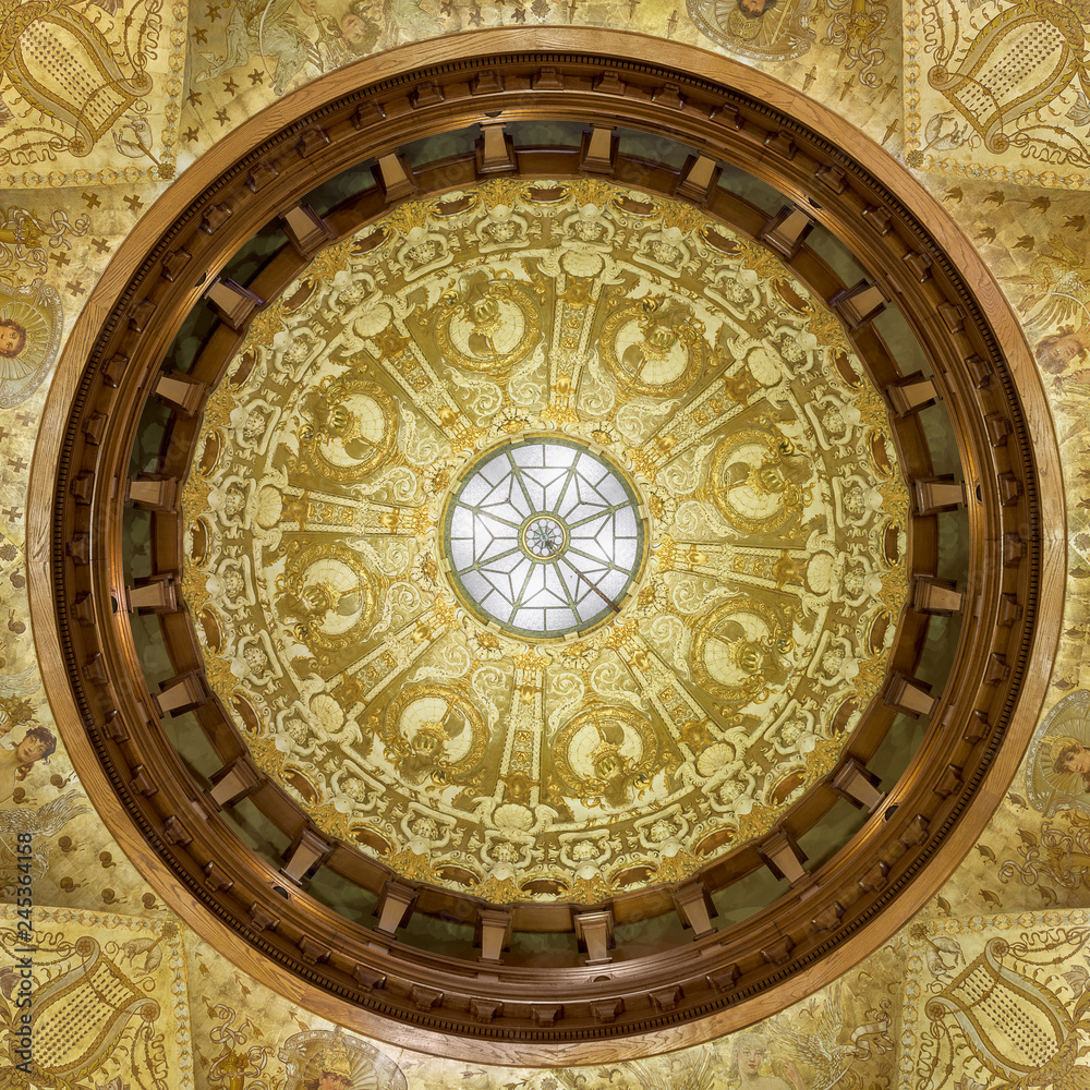 Fototapety, obrazy: Ceiling in the lobby of the Ponce de Leon Hotel, now Flagler College in St. Augustine, Florida