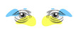 Set of eyes in pencil art style. Creative yellow and blue color. Vector illustration design.