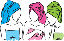 Girls With Towels Vector Illus...