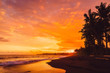 Bright sunset or sunrise with ocean waves and coconut palms in Bali, Keramas