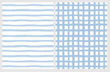 Set Of 2 Hand Drawn Irregular Geometric Patterns. Horizontal Blue Stripes On A White Background. Light Blue Grid On A White Background. Infantile Style Abstract Graphic. Cute Repeatable Design.