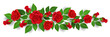 Horizontal banner with red rose flower, bud and green leaf. Vector illustration for horizontal border decoration and romantic design