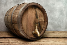 Wooden Barrel With Tap And Wor...