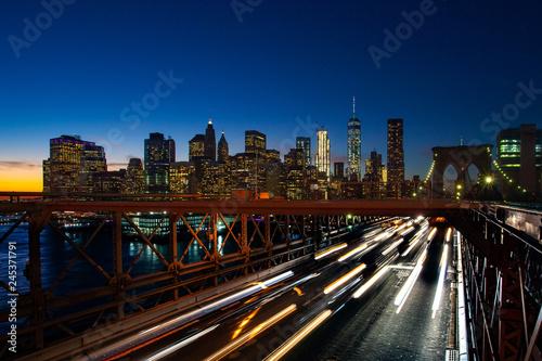 Keuken foto achterwand Los Angeles Busy traffic in New York City, Manhattan, Brooklyn Bridge