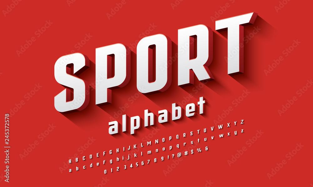 Fototapeta Vector of modern 3D bold alphabet design