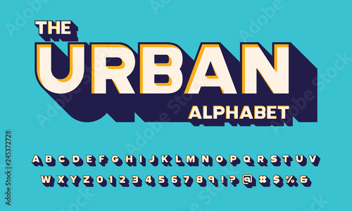 Fotografía  Vector of modern 3D bold alphabet design