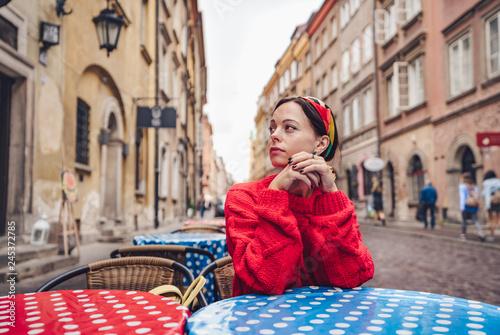 Fototapeta Young girl in a cafe obraz