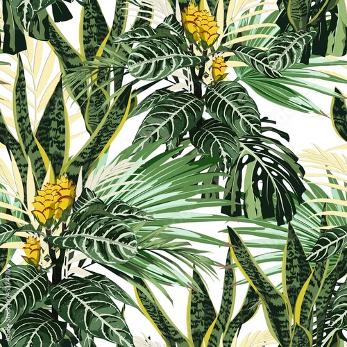 Seamless pattern, bright green colors palm leaves and tropical exotic yellow flowers on white background.
