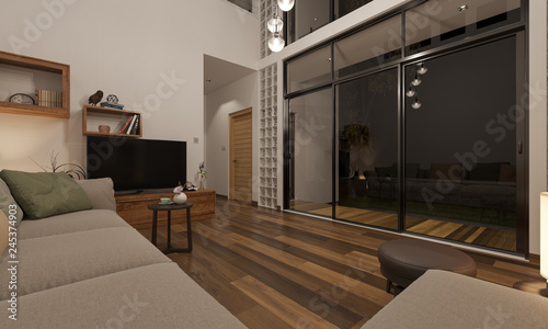 Night Time Rendering Of Living Room And The Patio 3d Rendering