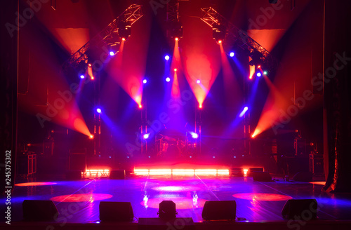 Free stage with lights, lighting devices. - 245375302